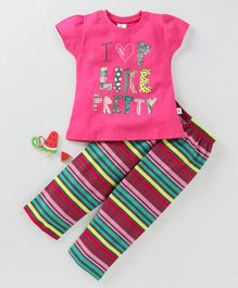 Cucumber Half Sleeves Night Suit Stripes & Text Print - Pink