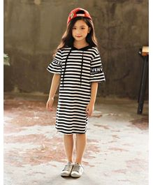 Pre Order - Awabox Striped Half Sleeves Hooded Dress - Black & White