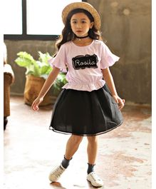 Pre Order - Awabox Patch Detailed Half Sleeves Dress - Pink & Black