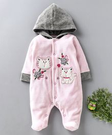 Wonderchild Cat Patch Full Sleeves Hooded Romper - Pink
