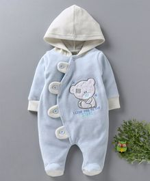 Wonderchild Bear Patch Full Sleeves Footie Romper - Light Blue