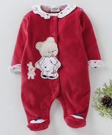 Wonderchild Bear Patch Full Sleeves Footie Romper - Dark Pink