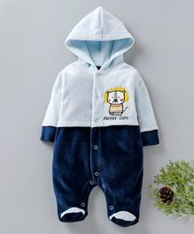 Wonderchild Bear Patch Full Sleeves Footie Romper - Blue