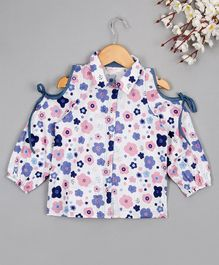 Budding Bees Floral Cold Shoulder Full Sleeves Shirt - White & Blue