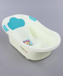 Baby Bath Tub Girl Print - Cream Blue