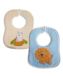 My Newborn Bibs Animal Embroidery Pack of 2 - Cream Blue