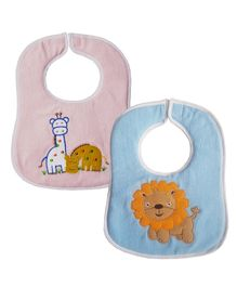 My Newborn Bibs Animal Embroidery Pack of 2 - Pink Blue