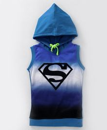 Game Begins Sleeveless Hooded Tee Superman Logo Print - Blue