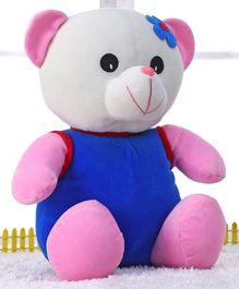 Play Toons Teddy Bear Soft Toy With Floral Patch Blue Pink - Height 30 cm