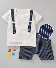 Kookie Kids Half Sleeves Tee & Shorts Bow Applique - White Blue