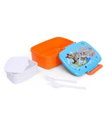 Paw Patrol Lunch Box And Water Bottle With Fork Spoon - Blue Orange