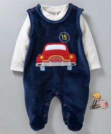 Wonderchild Car Patch Full Sleeves Footie Romper With Tee - Dark Blue & White