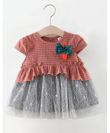 Pre Order - Awabox Bow Applique Checked Short Sleeve Dress - Red