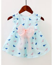 Pre Order - Awabox Bird Print Sleeve Dress - Light Blue