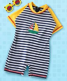 Rovars Half Sleeves Striped Legged Swimsuit Boat Patch - Navy Blue & White