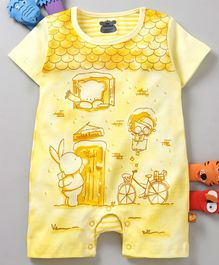 Mini Taurus Half Sleeves Bunny & Bear Print - Yellow