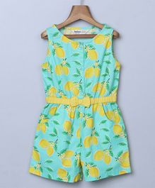 Beebay Lemon Print Sleeveless Jumpsuit - Green