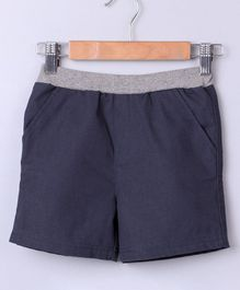 Beebay Solid Shorts With Front Pocket - Blue