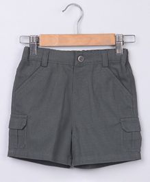 Beebay Solid Shorts With Front Pocket - Grey