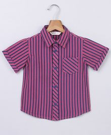 Beebay Striped Half Sleeves Shirt - Pink