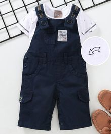 Little Kangaroos Solid Dungaree With Printed Inner Tee - Navy Blue White