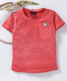 Little Kangaroos Half Sleeves Solid Tee  - Red