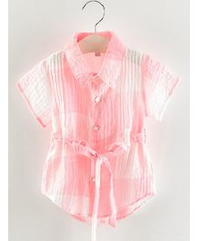 Pre Order - Awabox Solid Star Button Half Sleeves Shirt - Pink