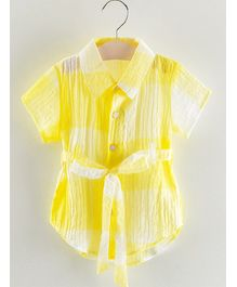 Pre Order - Awabox Solid Star Button Half Sleeves Shirt - Yellow