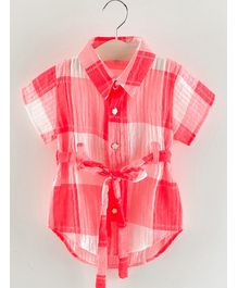Pre Order - Awabox Solid Star Button Half Sleeves Shirt - Red