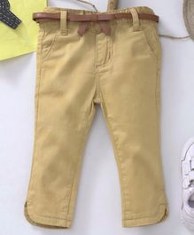 Memory Life Full Length Jeans With Belt - Khaki