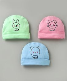 Simply Caps Animal Print Pack of 3 - Pink Green Blue
