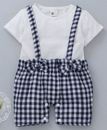 Kookie Kids Checked Half Sleeves Romper Bow Applique - Navy Blue & Off White