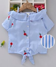Kookie Kids Half Sleeves Striped Top Flower Embroidered - Blue