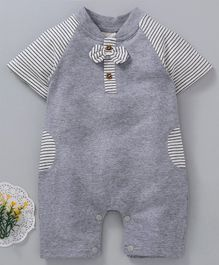 Kookie Kids Striped Half Sleeves Romper - Grey