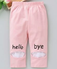 Meng Wa Full Length Lounge Pant Hello Print - Peach