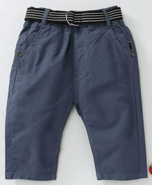 Kookie Kids Full Length Solid Colour Elasticated Pant With Belt - Blue