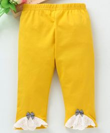 Meng Wa Full Length Lounge Pant Bow Patch - Yellow