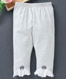 Meng Wa Full Length Lounge Pant Bow Patch - Light Grey