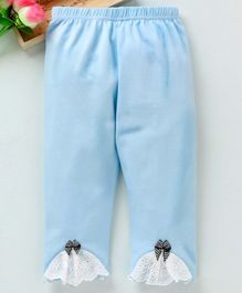 Meng Wa Full Length Lounge Pant Bow Patch - Light Blue