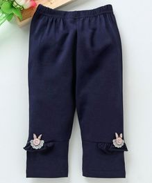 Meng Wa Full Length Lounge Pant Frill Design - Navy