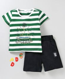 Meng Wa Half Sleeves Striped Tee With Shorts Summer Print - Green