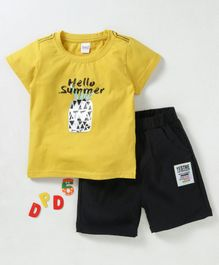 Meng Wa Half Sleeves Tee With Elasticated Shorts Pineapple Print - Yellow