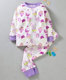 Yiyi Garden Full Sleeves Night Suit Cupcake Print - White Purple