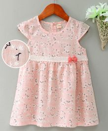 Kookie Kids Cap Sleeves Printed Frock Lace & Bow Detail - Pink