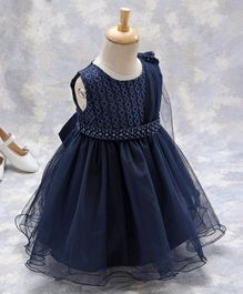 Kookie Kids Sleeveless Embroidered Frock With Embellished Waist Line - Navy