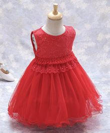Kookie Kids Sleeveless Frock Leaf & Flower Embroidered - Red
