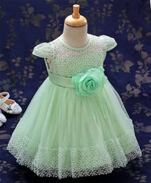 Kookie Kids Cap Sleeves Frock Embroidered & Rose Corsage - Light Green