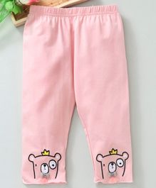 Meng Wa Full Length Lounge Pant Bear Embroidered - Pink