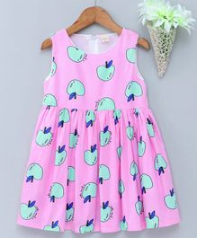 Kookie Kids Sleeveless Frock Allover Fruit Print - Pink
