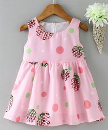 Kookie Kids Sleeveless Printed Frock - Pink